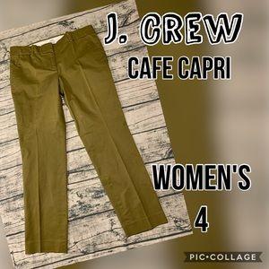J. Crew Cafe Capri Olive Green Size 4